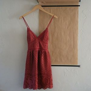 Abercrombie and Fitch Red and Lace Dress